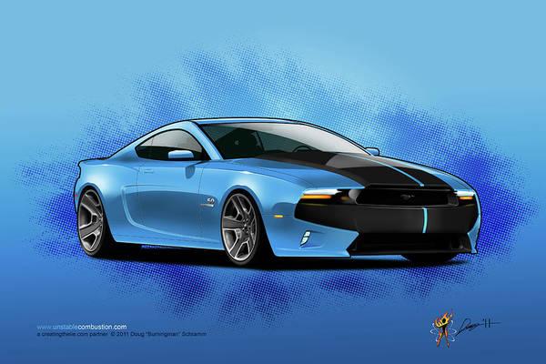 Digital Art - 2014 Mustang  by Doug Schramm