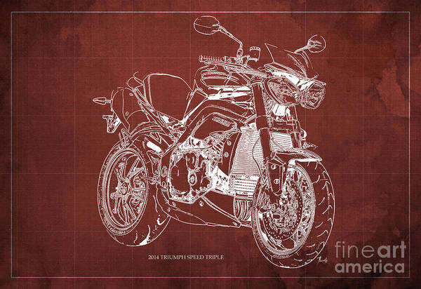 Wall Art - Digital Art - 2014 Triumph Speed Triple Blueprint Red Background by Drawspots Illustrations