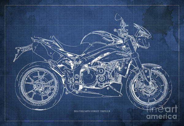 Father Drawing - 2014 Triumph Street Triple R, Motorcycle Blueprint For Man Cave, Blue Background by Drawspots Illustrations