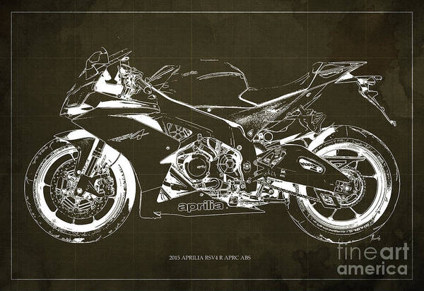 Blueprint Digital Art - 2015 Aprilia Rsv4 R Blueprint Brown Background, Profile Bike by Drawspots Illustrations