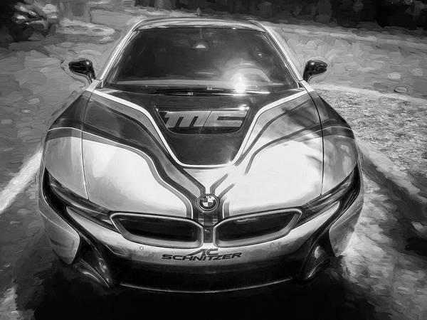 Photograph - 2015 Bmw I8 Hybrid Sports Car Bw by Rich Franco