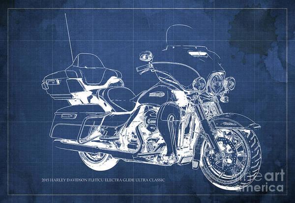 Ch Wall Art - Painting - 2015 Harley Davidson Flhtcu Electra Glide Ultra Classic Blueprint Blue Background by Drawspots Illustrations