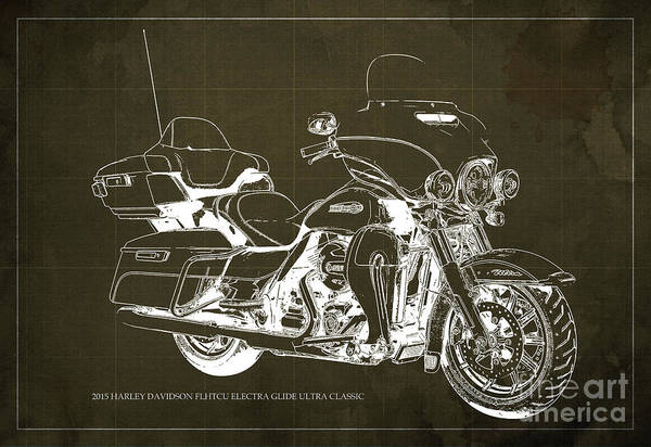 Harley Davidson Black And White Wall Art - Painting - 2015 Harley Davidson Flhtcu Electra Glide Ultra Classic Blueprint Brown Background by Drawspots Illustrations