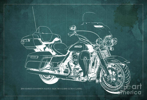 Harley Davidson Painting - 2015 Harley Davidson Flhtcu Electra Glide Ultra Classic Blueprint Gren Background by Drawspots Illustrations
