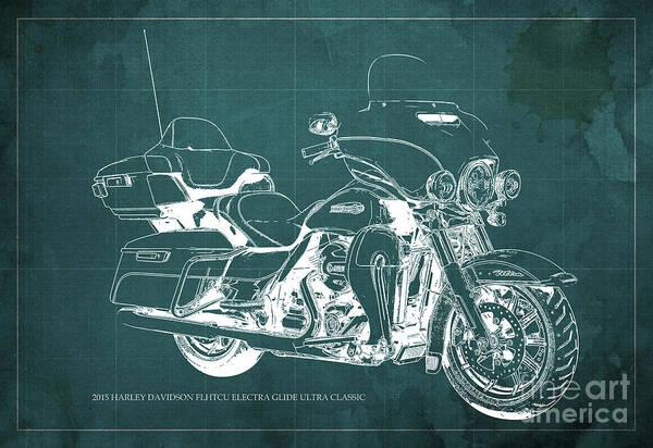 Harley Quinn Wall Art - Painting - 2015 Harley Davidson Flhtcu Electra Glide Ultra Classic Blueprint Gren Background by Drawspots Illustrations