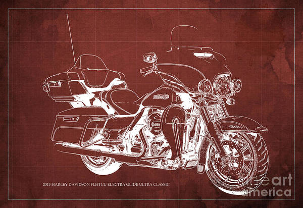 Harley Quinn Wall Art - Painting - 2015 Harley Davidson Flhtcu Electra Glide Ultra Classic Blueprint Red Background by Drawspots Illustrations