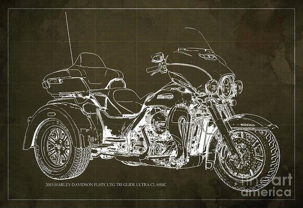 Chs Digital Art - 2015 Harley-davidson Flhtcutg Tri Glide Ultra Classic Blueprint Brown Background by Drawspots Illustrations