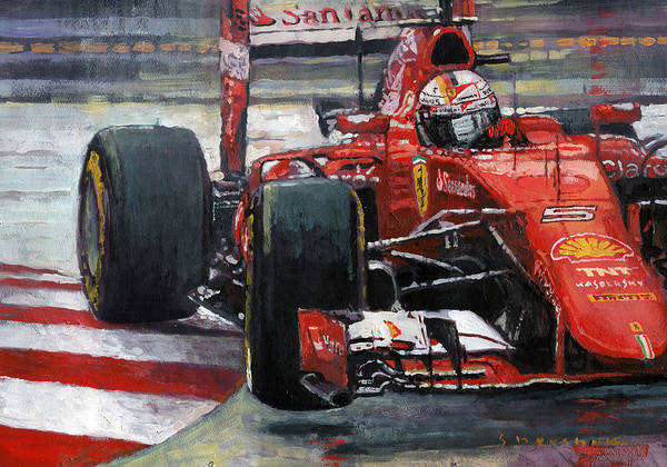 Wall Art - Painting - 2015 Hungary Gp Ferrari Sf15t Vettel Winner by Yuriy Shevchuk