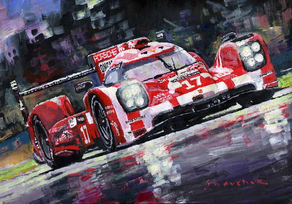 Wall Art - Painting - 2015 Le Mans 24h Porsche 919 Hybrid by Yuriy Shevchuk