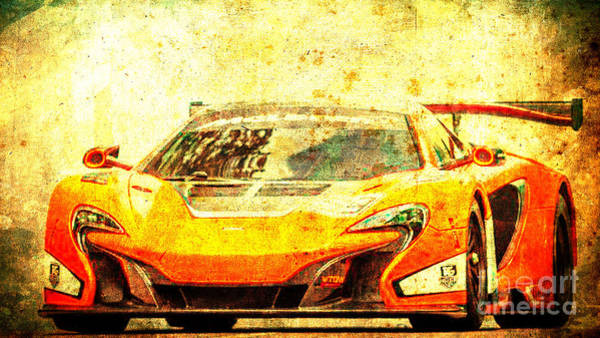 Le Mans Mixed Media - 2015 Mclaren 650s Gt3 Race Car, Red Car, Vintage Poster by Drawspots Illustrations