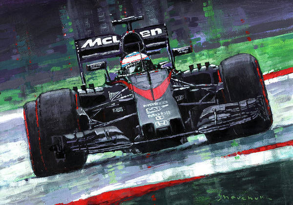Wall Art - Painting - 2015 Mclaren Honda F1 Austrian Gp Alonso  by Yuriy Shevchuk