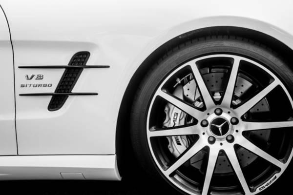 Wall Art - Photograph - 2015 Mercedes-benz Sl63 Amg Roadster Wheel Emblem -0653bw by Jill Reger
