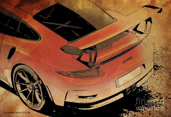 Garage Decor Mixed Media - 2015 Porsche 911 Gt3 Rs by Drawspots Illustrations