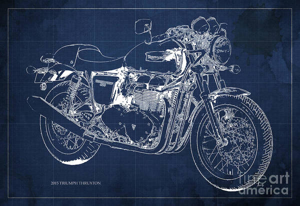 Moto Blueprint Wall Art - Painting - 2015 Triumph Thruxton Blueprint Blue Background by Drawspots Illustrations