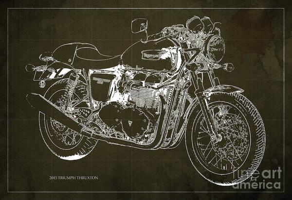 Chs Digital Art - 2015 Triumph Thruxton Blueprint Brown Background by Drawspots Illustrations