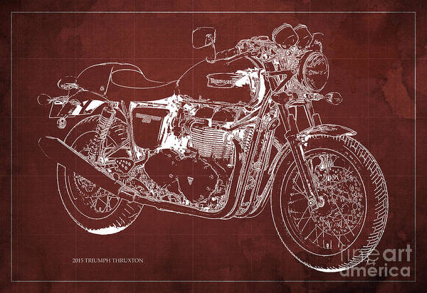 Chs Digital Art - 2015 Triumph Thruxton Blueprint Red Background by Drawspots Illustrations