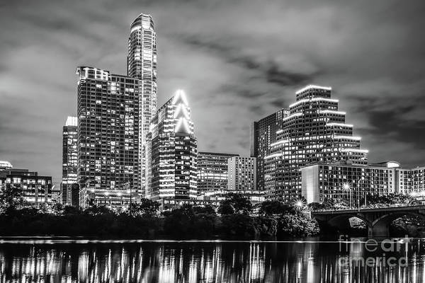 Wall Art - Photograph - 2016 Austin Skyline At Night In Black And White by Paul Velgos