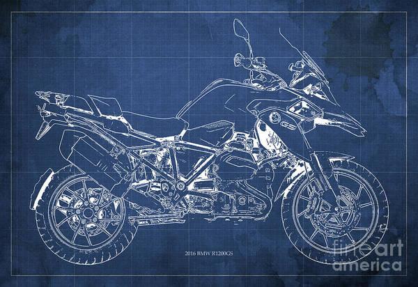 Blueprint Digital Art - 2016 Bmw R1200gs Blueprint Blue Background by Drawspots Illustrations