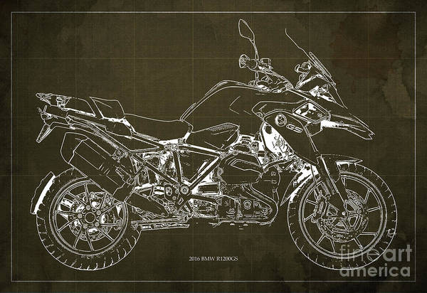 Bmw Painting - 2016 Bmw R1200gs Blueprint Brown Background by Drawspots Illustrations