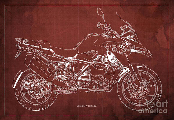 Man Cave Drawing - 2016 Bmw R1200gs Blueprint Red Background by Drawspots Illustrations