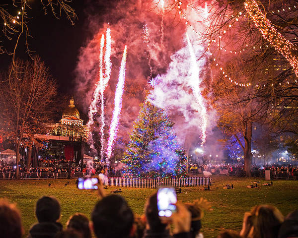 Photograph - 2016 Boston Common Christmas Tree Lighting Boston Ma Fireworks by Toby McGuire