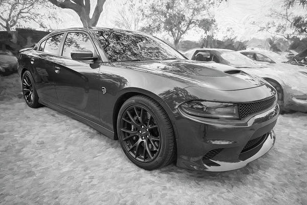 Photograph - 2016 Dodge Srt Hellcat Charger C206 Bw by Rich Franco