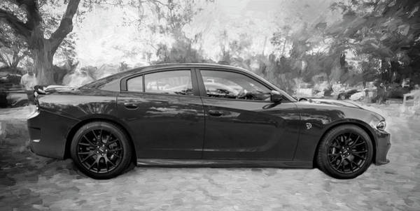 Photograph - 2016 Dodge Srt Hellcat Charger C209 Bw by Rich Franco