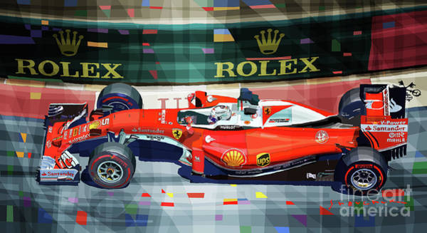 Wall Art - Mixed Media - 2016 Ferrari Sf16-h Vettel Monaco Gp  by Yuriy Shevchuk