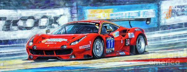 Races Painting - 2016 Hankook 24h Epilog Brno Ferrari 488 Gt3 Winner by Yuriy Shevchuk
