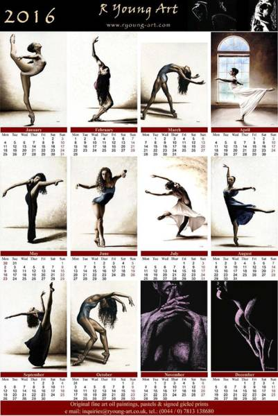 Wall Art - Painting - 2016 High Resolution R Young Art Dance Calendar by Richard Young