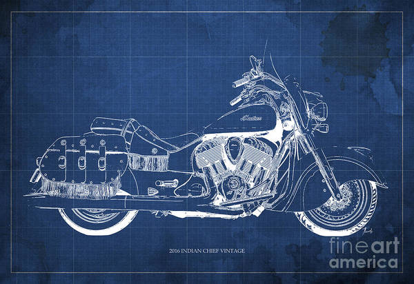 Bike Racing Painting - 2016 Indian Chief Vintage Motorcycle Blueprint, Blue Background by Drawspots Illustrations