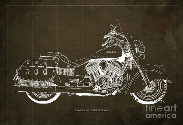 Bike Racing Painting - 2016 Indian Chief Vintage Motorcycle Blueprint, Brown Background by Drawspots Illustrations