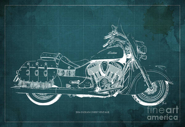 Bike Racing Painting - 2016 Indian Chief Vintage Motorcycle Blueprint, Green Background. Gift For Men by Drawspots Illustrations
