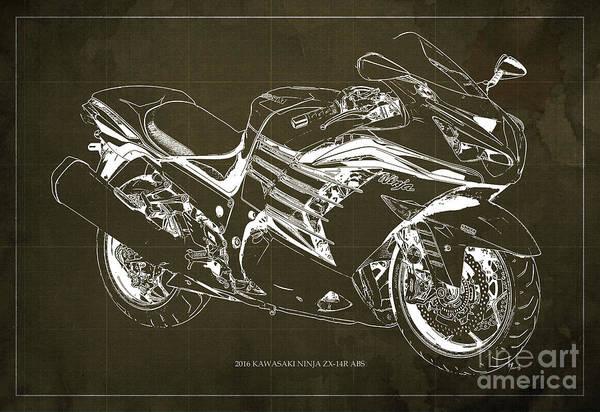 Vulcan Wall Art - Digital Art - 2016 Kawasaki Ninja Zx-14r Abs Blueprint Brown Background by Drawspots Illustrations