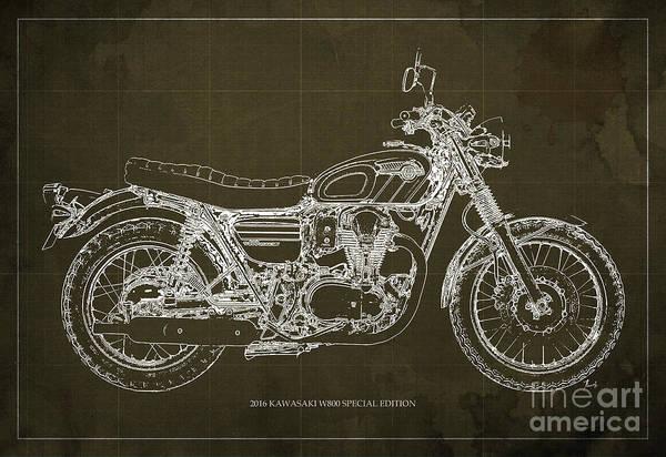 Garage Decor Mixed Media - 2016 Kawasaki W800 Speciaol Edition Blueprint Brown Background by Drawspots Illustrations