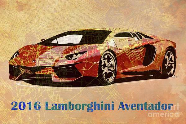 Old Car Drawing - 2016 Lamborghini Aventador On Old Brooklin 1898 Map  by Drawspots Illustrations