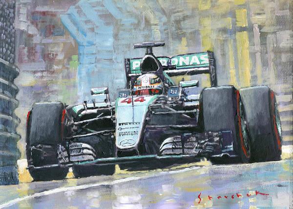 Wall Art - Painting - 2016 Monaco Gp Mercedes Amg Petronas Hamilton  by Yuriy Shevchuk