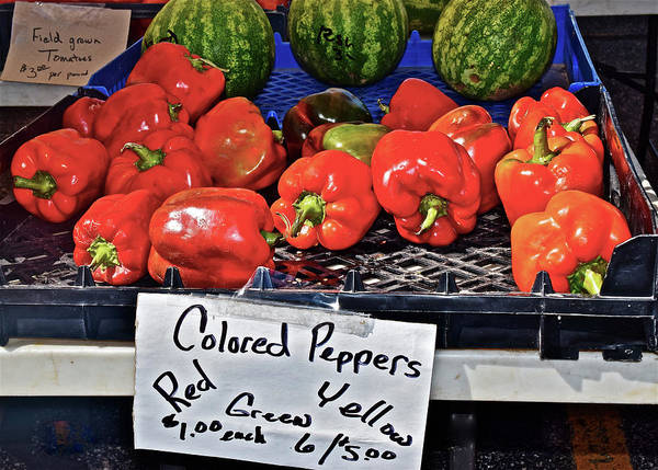 Photograph - 2016 Monona Farmers' Market Colored Peppers by Janis Nussbaum Senungetuk