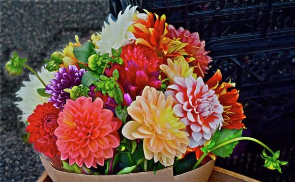 Photograph - 2016 Monona Farmers' Market Dahilas Large Bouquet by Janis Nussbaum Senungetuk