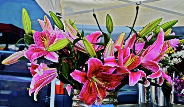 Photograph - 2016 Monona Farmers' Market Vendor's Stand-lilies by Janis Nussbaum Senungetuk