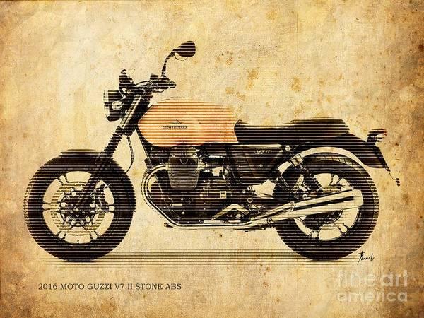 Mono Painting - 2016 Moto Guzzi V7 II Stone Abs by Drawspots Illustrations