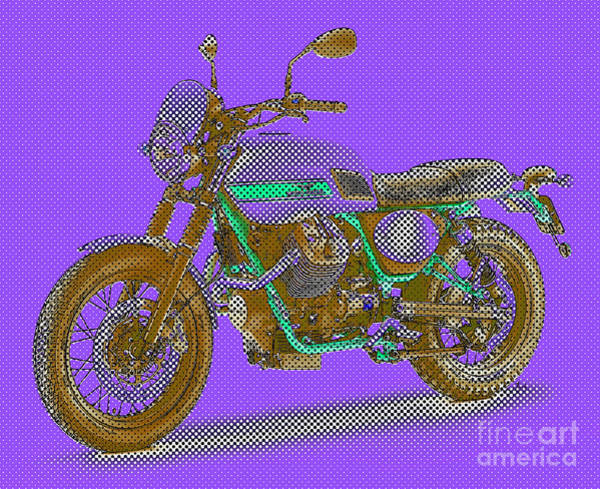Warhol Drawing - 2016 Moto Guzzi V7ii Stornello - Warhol Style Purple by Drawspots Illustrations