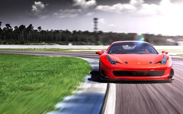 458 Digital Art - 2016 Racing One Ferrari 458 Loma Wheels by Mery Moon