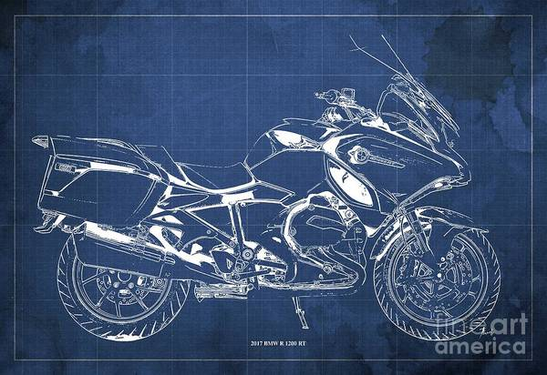 Wall Art - Digital Art - 2017 Bmw R 1200 Rt Blueprint Blue Background Office And Man Cave Decoration by Drawspots Illustrations