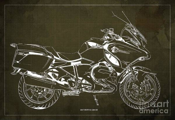 Wall Art - Digital Art - 2017 Bmw R 1200 Rt Blueprint Brown  Background Office And Man Cave Decoration by Drawspots Illustrations