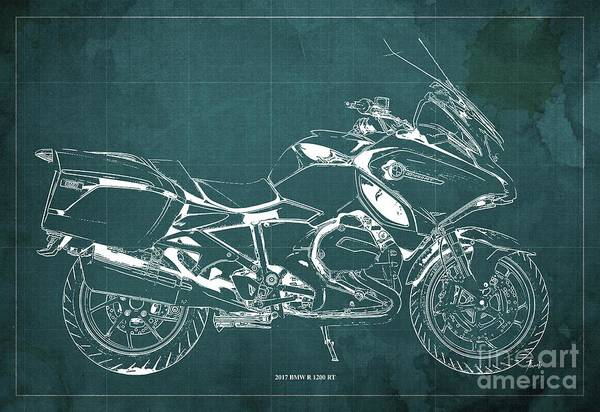 Wall Art - Digital Art - 2017 Bmw R 1200 Rt Blueprint Green Background Gift For Bikers by Drawspots Illustrations