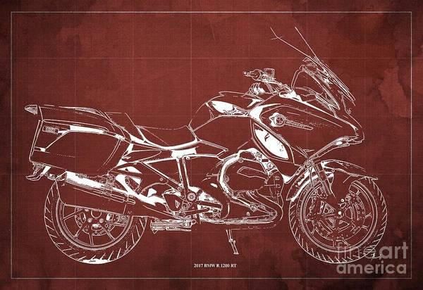 Wall Art - Digital Art - 2017 Bmw R 1200 Rt Blueprint Red Background Office And Man Cave Decoration by Drawspots Illustrations