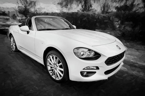Photograph - 2017 Fiat 124 Spider C143 Bw by Rich Franco