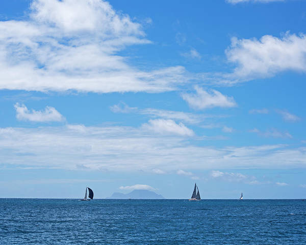 Photograph - 2017 Heineken Regatta Sailing Past Saba Saint Martin Sint Maarten Blue And White Sail by Toby McGuire
