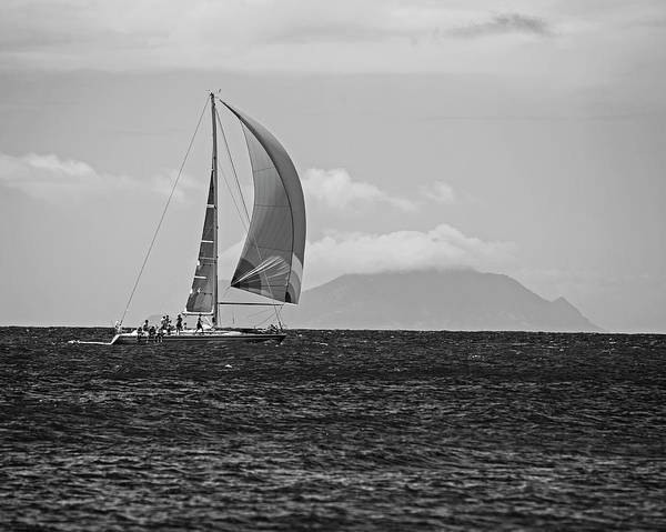 Photograph - 2017 Heineken Regatta Sailing Past Saba Saint Martin Sint Maarten Red Sail Black And White by Toby McGuire